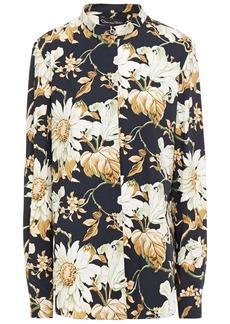 Oscar De La Renta Woman Floral-print Crepe Shirt Midnight Blue