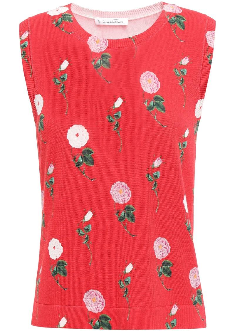 Oscar De La Renta Woman Floral-print Knitted Top Red