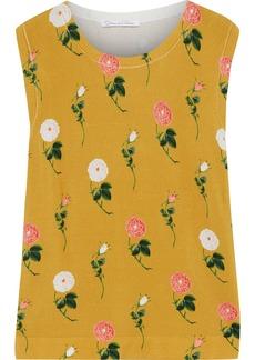 Oscar De La Renta Woman Floral-print Knitted Top Mustard