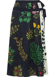 Oscar De La Renta Woman Floral-print Silk-jacquard Midi Wrap Skirt Midnight Blue