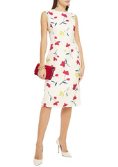 Oscar De La Renta Woman Floral-print Wool-twill Dress Ivory
