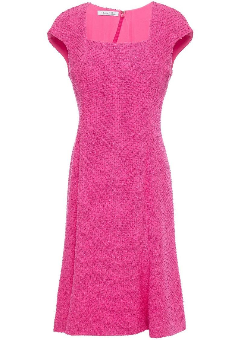 Oscar De La Renta Woman Fluted Cotton-blend Bouclé-tweed Dress Bright Pink