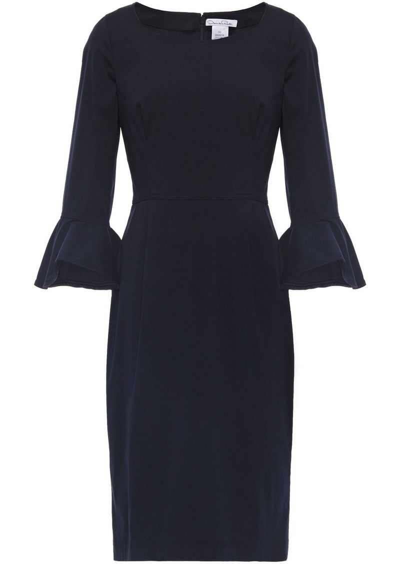Oscar De La Renta Woman Fluted Cotton-blend Poplin Dress Midnight Blue