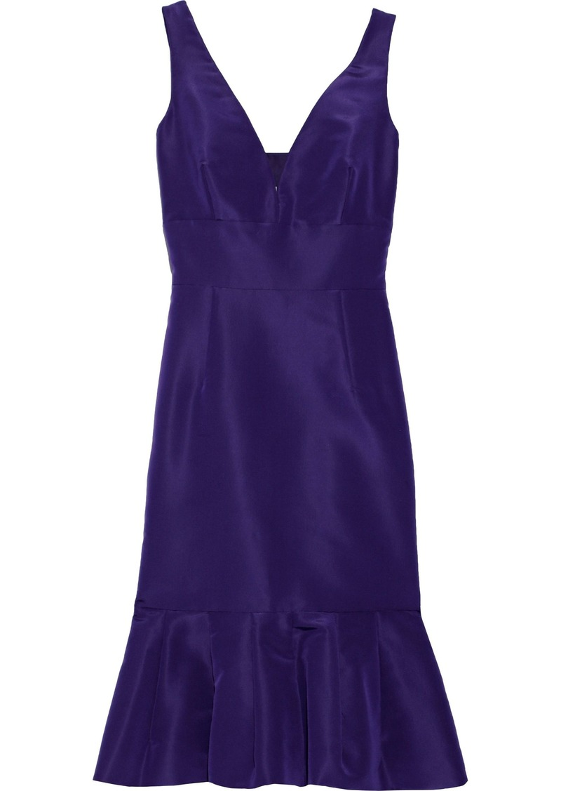 Oscar De La Renta Woman Fluted Cutout Silk-faille Dress Indigo