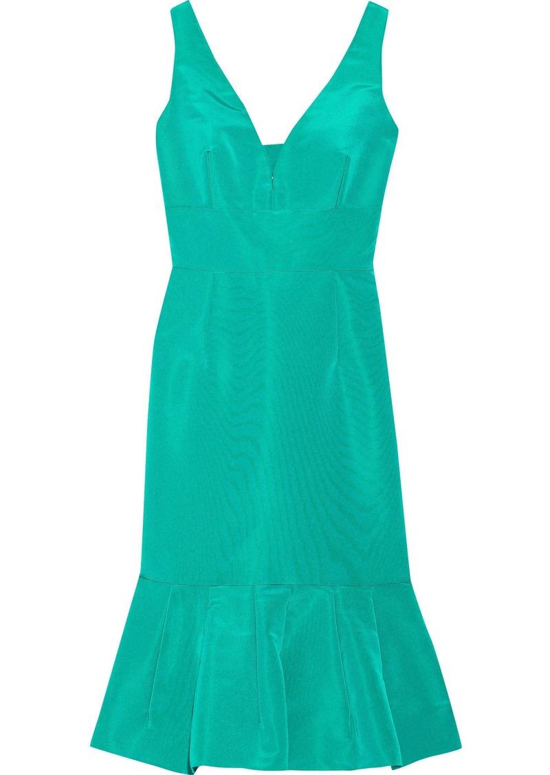 Oscar De La Renta Woman Fluted Cutout Silk-faille Dress Jade