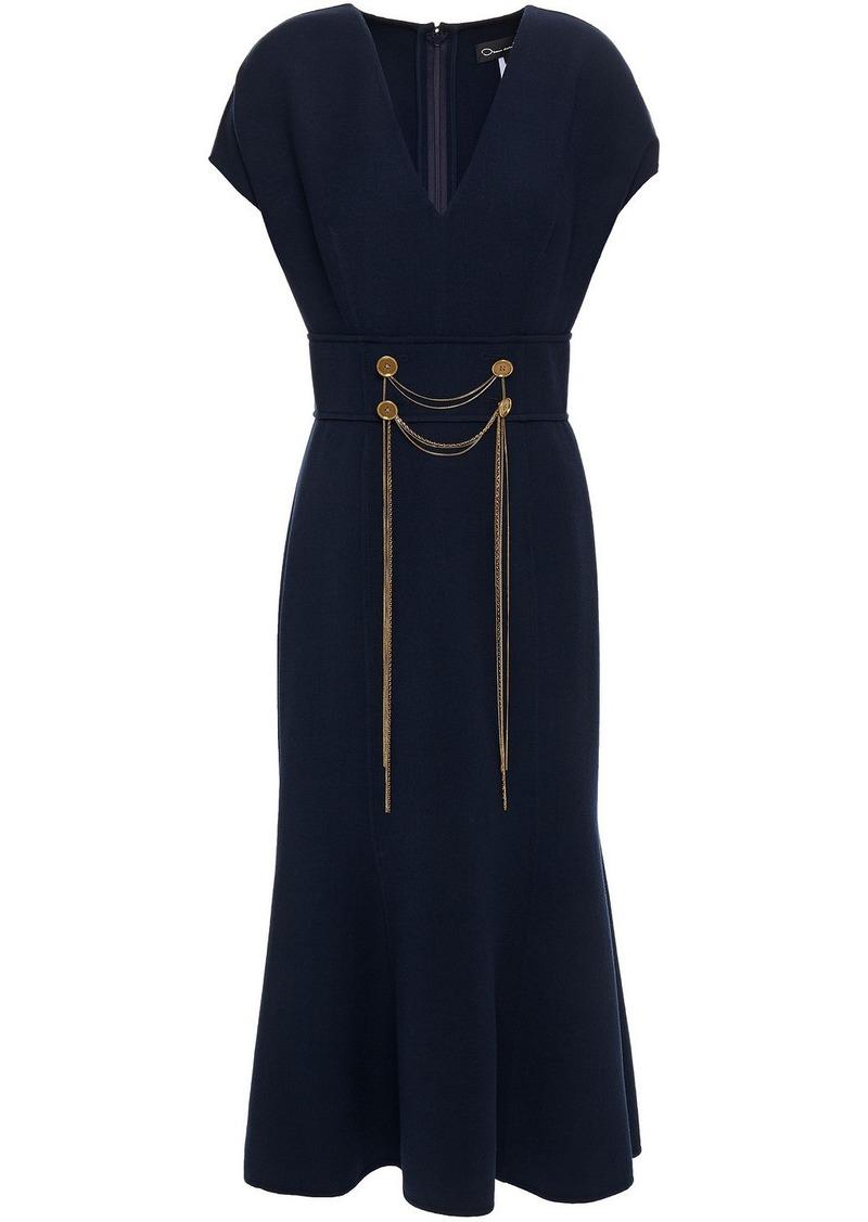 Oscar De La Renta Woman Fluted Embellished Wool-blend Midi Dress Midnight Blue