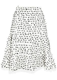 Oscar De La Renta Woman Fluted Fil Coupé Cotton-blend Bouclé Skirt White