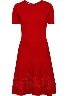 Oscar De La Renta Woman Fluted Floral-appliquéd Wool Dress Red
