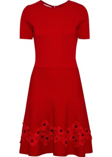 Oscar De La Renta Woman Fluted Floral-appliquéd Wool Dress Red