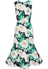 Oscar De La Renta Woman Fluted Floral-print Faille Midi Dress Black