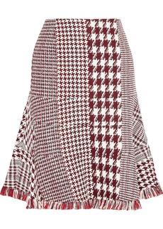 Oscar De La Renta Woman Fluted Fringe-trimmed Houndstooth Tweed Skirt Brick