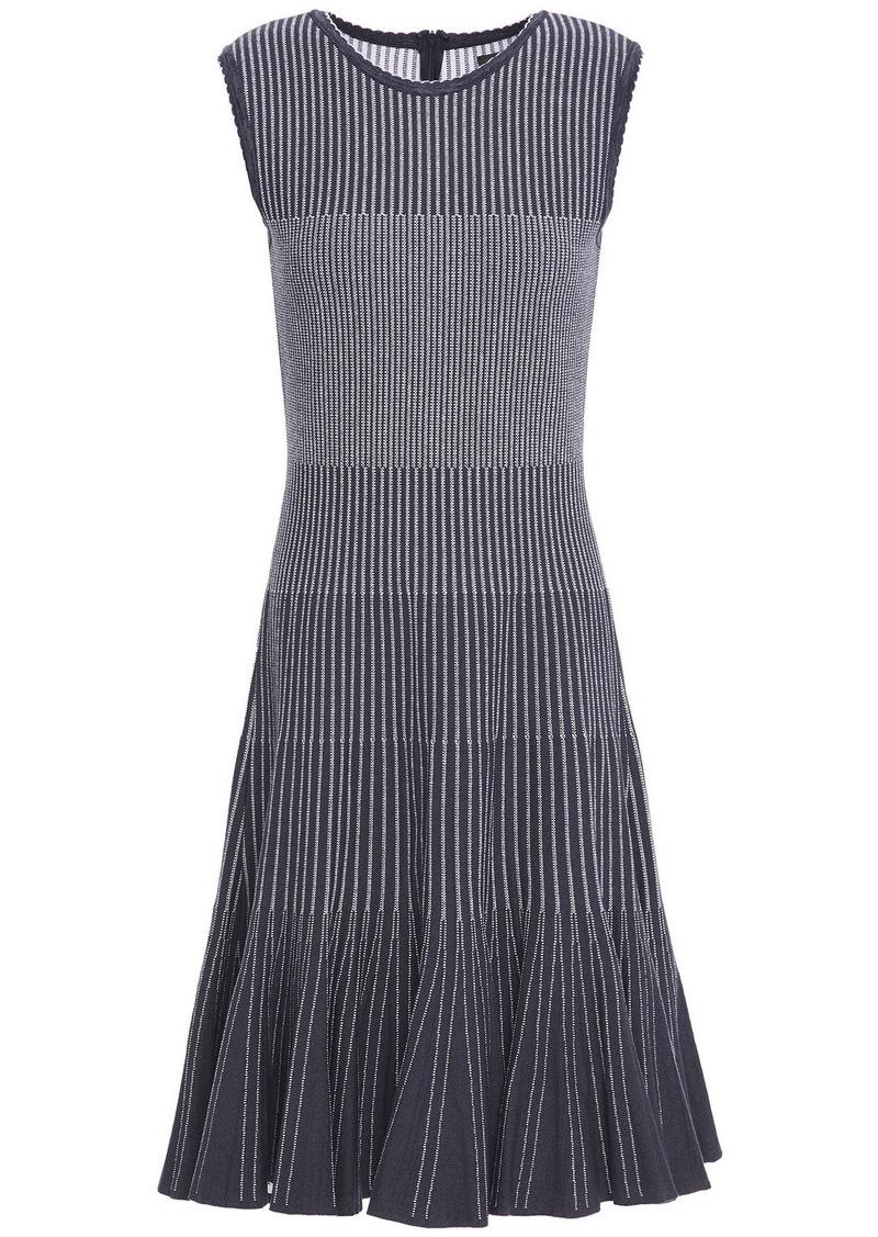 Oscar De La Renta Woman Fluted Jacquard-knit Dress Navy