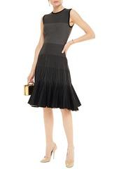 Oscar De La Renta Woman Fluted Metallic Jacquard-knit Dress Black