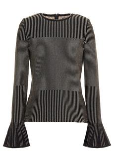 Oscar De La Renta Woman Fluted Metallic Jacquard-knit Sweater Black