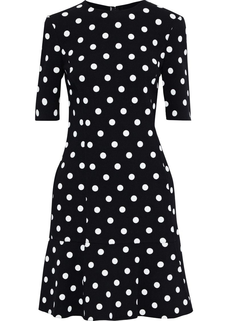 Oscar De La Renta Woman Fluted Polka-dot Wool-blend Crepe Mini Dress Black