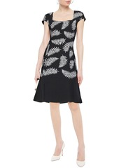 Oscar De La Renta Woman Fluted Cotton-blend Bouclé-tweed Dress Black