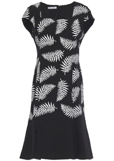 Oscar De La Renta Woman Fluted Cotton-blend Bouclé-tweed Dress Black