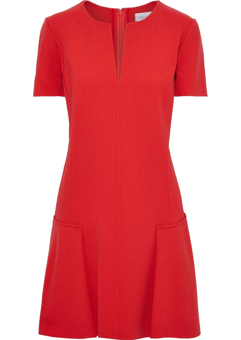 Oscar De La Renta Woman Fluted Stretch-wool Crepe Mini Dress Red