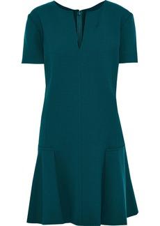 Oscar De La Renta Woman Fluted Stretch-wool Crepe Mini Dress Teal