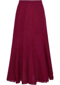 Oscar De La Renta Woman Fluted Wool-blend Bouclé-tweed Midi Skirt Plum