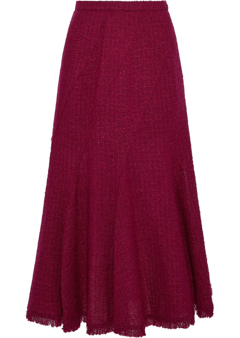 Oscar De La Renta Woman Fluted Wool-blend Bouclé-tweed Midi Skirt Plum