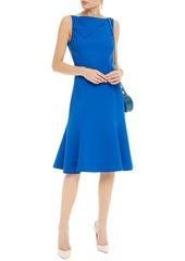 Oscar De La Renta Woman Fluted Wool-blend Crepe Dress Cobalt Blue