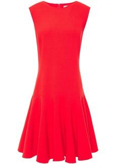 Oscar De La Renta Woman Fluted Wool-blend Crepe Dress Tomato Red