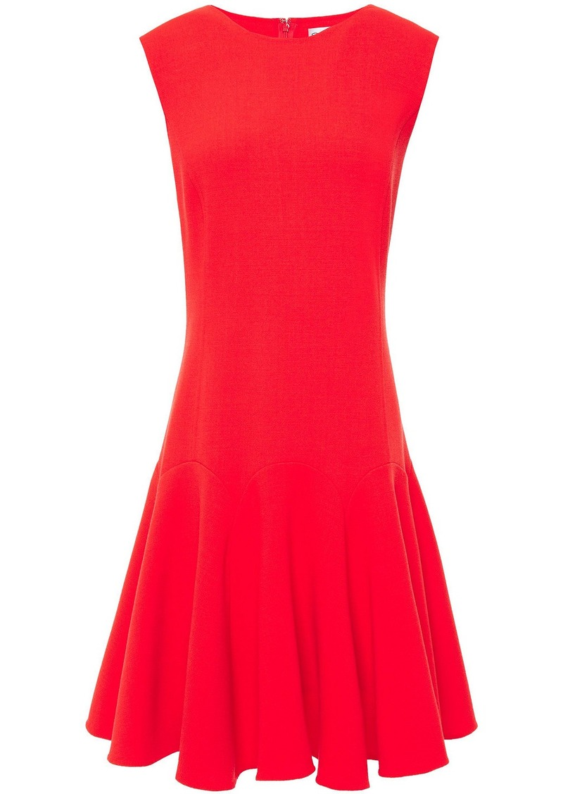 Oscar De La Renta Woman Fluted Wool-blend Crepe Dress Tomato Red