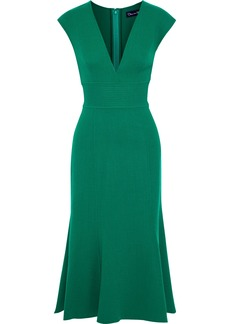 Oscar De La Renta Woman Fluted Wool-blend Crepe Midi Dress Green