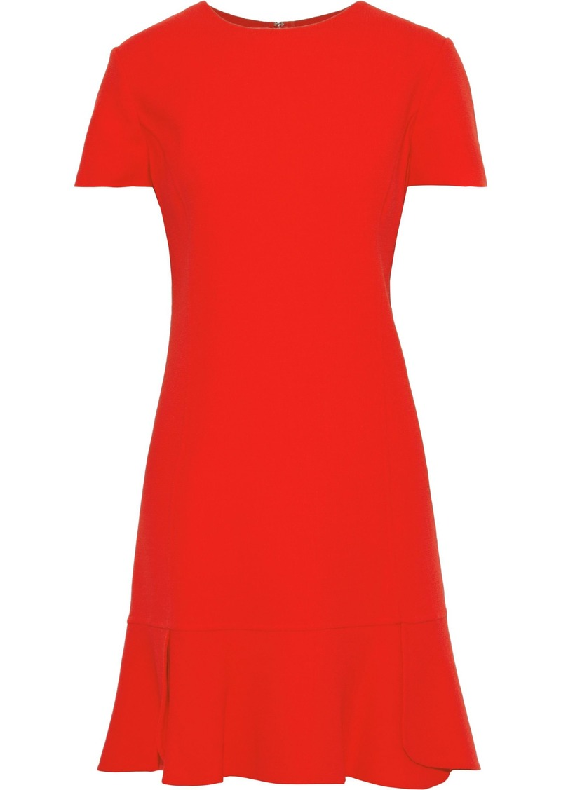 Oscar De La Renta Woman Fluted Wool-blend Crepe Mini Dress Red