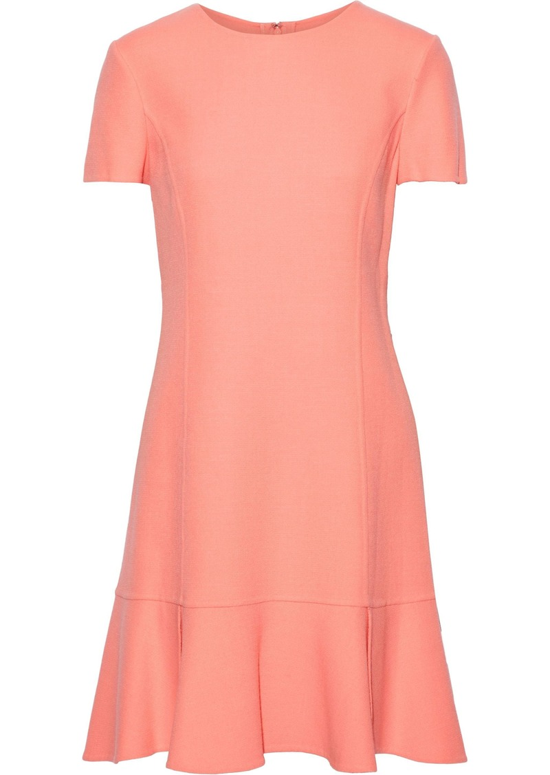 Oscar De La Renta Woman Fluted Wool-blend Crepe Mini Dress Coral