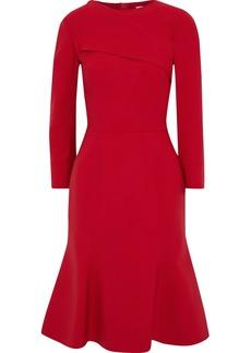 Oscar De La Renta Woman Fluted Wool-blend Dress Crimson