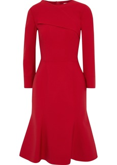 Oscar De La Renta Woman Fluted Wool-blend Dress Crimson