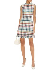 Oscar De La Renta Woman Frayed Checked Cotton-blend Tweed Mini Dress White