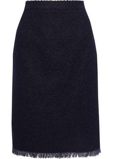 Oscar De La Renta Woman Frayed Cotton-blend Tweed Pencil Skirt Midnight Blue