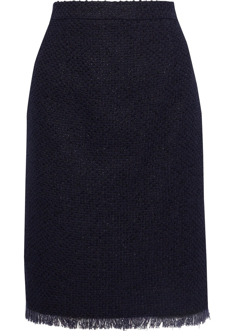Oscar De La Renta Woman Frayed Cotton-blend Tweed Pencil Skirt Midnight Blue