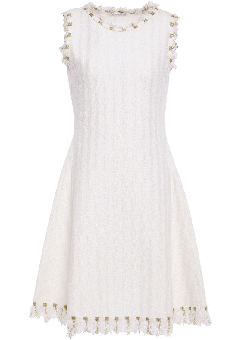 Oscar De La Renta Woman Frayed Embroidered Bouclé-tweed Dress White