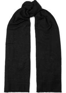 Oscar De La Renta Woman Frayed Embroidered Wool And Silk-blend Scarf Black