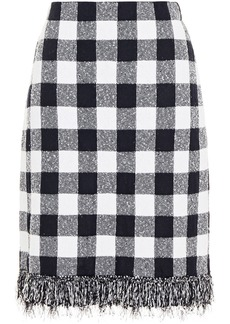 Oscar De La Renta Woman Frayed Gingham Bouclé-knit Skirt Black