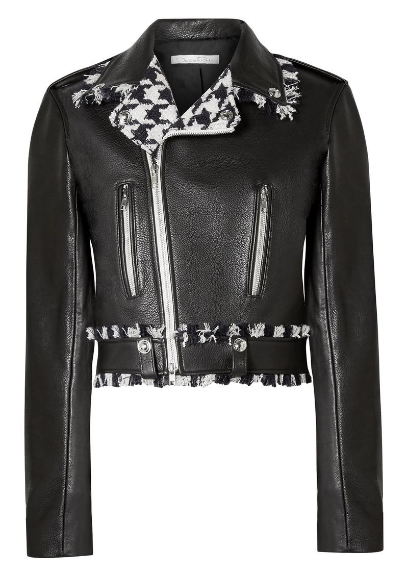Oscar De La Renta Woman Frayed Houndstooth Tweed-trimmed Leather Biker Jacket Black