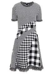 Oscar De La Renta Woman Frayed Paneled Gingham Bouclé-knit Dress Black