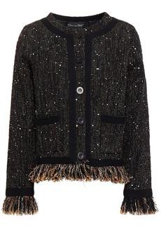 Oscar De La Renta Woman Frayed Sequin-embellished Tweed Jacket Black