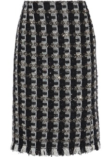 Oscar De La Renta Woman Frayed Sequin-embellished Tweed Skirt Black