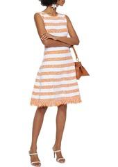 Oscar De La Renta Woman Frayed Striped Bouclé-knit Dress Orange