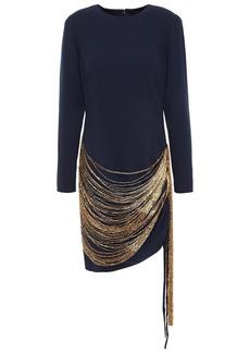 Oscar De La Renta Woman Fringed Bead-embellished Wool-blend Crepe Mini Dress Midnight Blue
