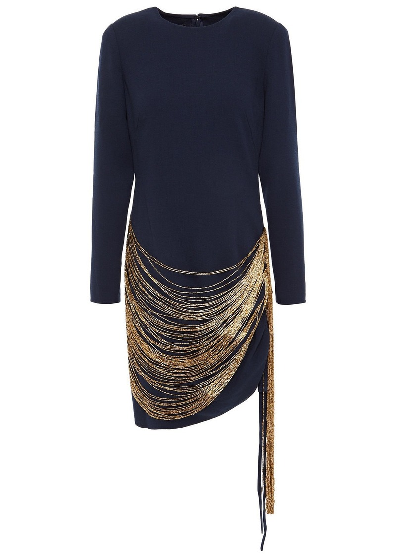 Oscar De La Renta Woman Fringed Bead-embellished Wool-blend Crepe Mini Dress Midnight Blue
