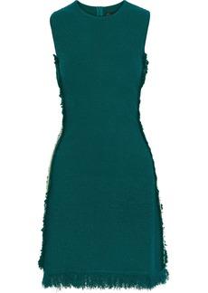 Oscar De La Renta Woman Embroidered Grosgrain-trimmed Bouclé-knit Mini Dress Emerald