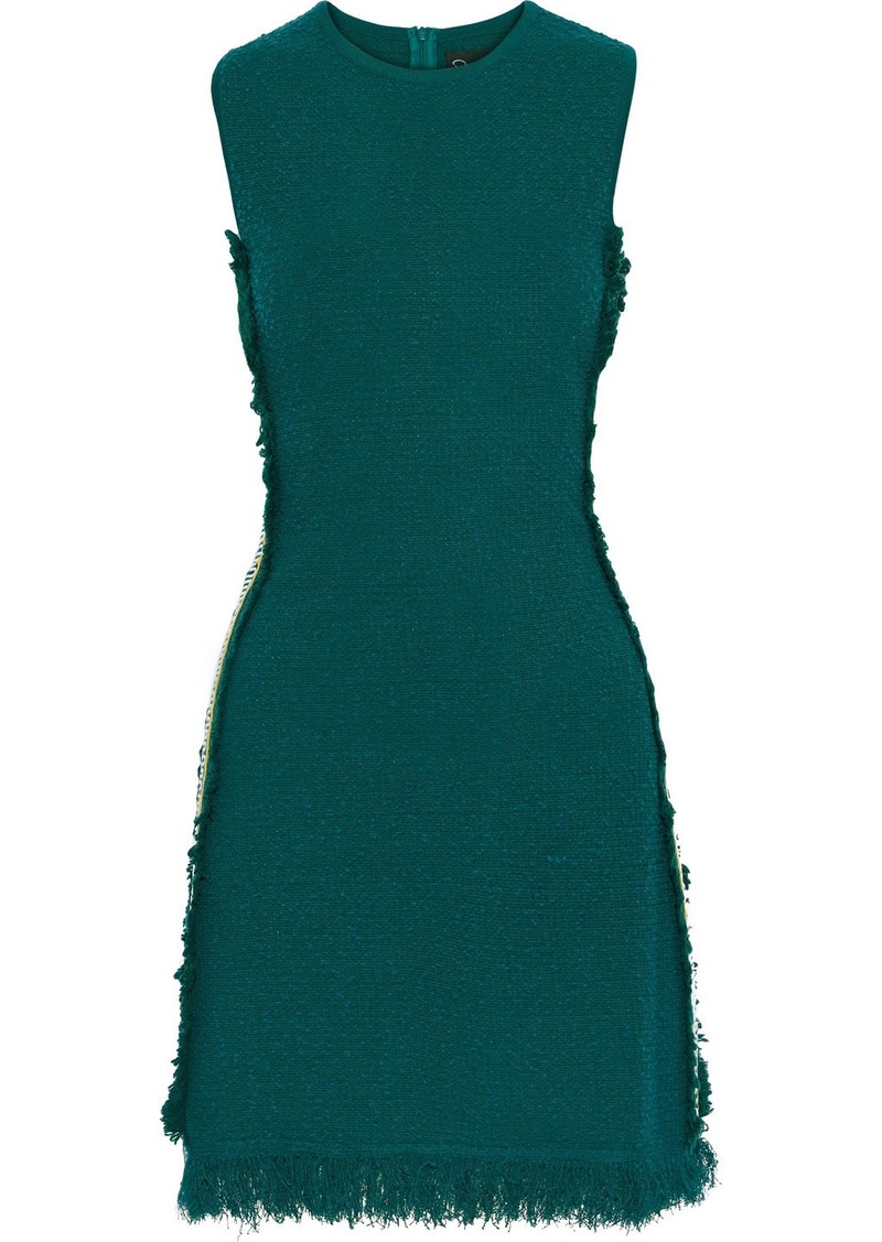 Oscar De La Renta Woman Embroidered Grosgrain-trimmed Bouclé-knit Mini Dress Emerald