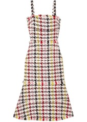 Oscar De La Renta Woman Fringed Houndstooth Wool-blend Tweed Dress Red