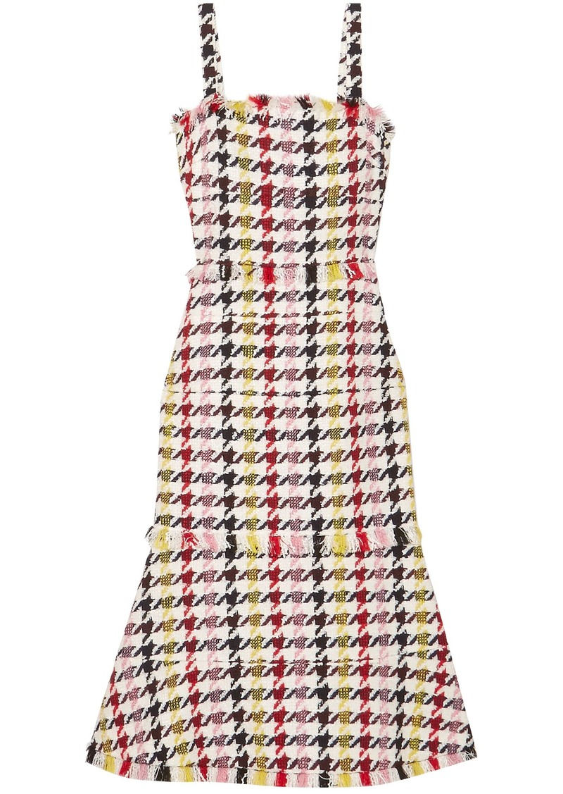 Oscar De La Renta Woman Fringed Houndstooth Wool-blend Tweed Dress Red